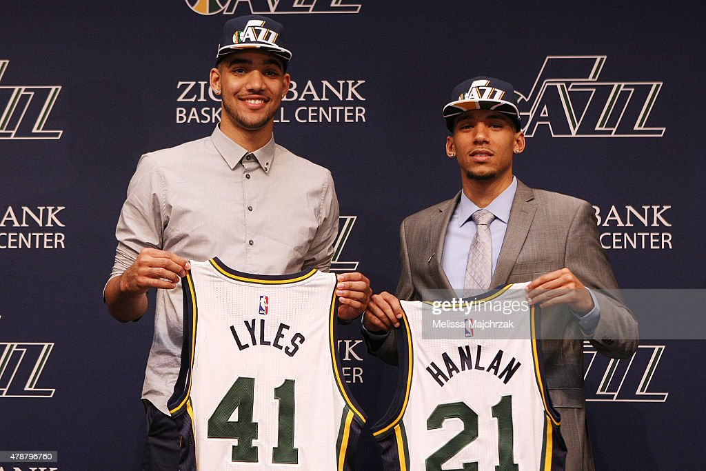 <a gi-track='captionPersonalityLinkClicked' href=/galleries/search?phrase=Trey+Lyles&family=editorial&specificpeople=8022476 ng-click='$event.stopPropagation()'>Trey Lyles</a> and <a gi-track='captionPersonalityLinkClicked' href=/galleries/search?phrase=Olivier+Hanlan&family=editorial&specificpeople=10135196 ng-click='$event.stopPropagation()'>Olivier Hanlan</a> of the Utah Jazz speak at a press conference the day after the 2015 Draft at Zions Basketball Center on June 26, 2015 in Salt Lake City, Utah.