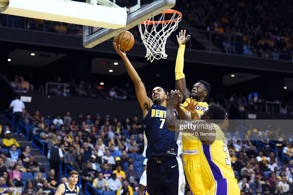 Trey Lyles #7 of the Denver Nuggets goes to the basket against the Los Angeles Lakers on October 4, 2017 at Citizens Business Bank Arena in Los Angeles, California.