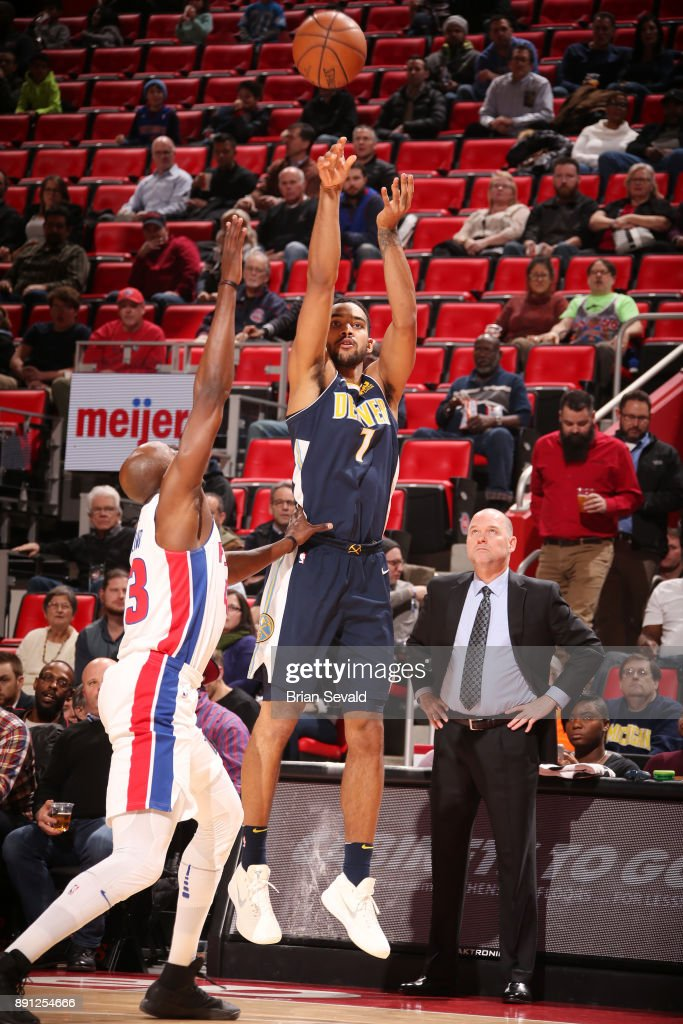 Trey Lyles #7 of the Denver Nuggets shoots the ball against the Detroit Pistons on December 12, 2017 at Little Caesars Arena in Detroit, Michigan.