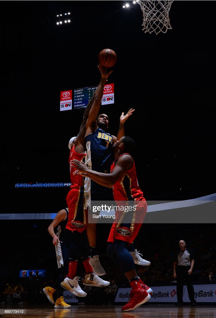 Trey Lyles #7 of the Denver Nuggets shoots the ball against the New Orleans Pelicans on December 15, 2017 at the Pepsi Center in Denver, Colorado.