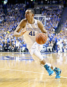 Trey Lyles of the Kentucky Wildcats dribbles the ball during the game against the Florida Gators at Rupp Arena on March 7 2015 in Lexington Kentucky