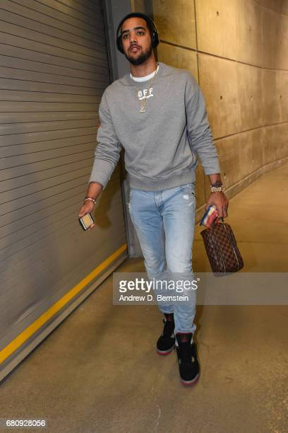 Trey Lyles of the Utah Jazz arrives at the arena before Game Three of the Western Conference Semifinals against the Golden State Warriors during the...