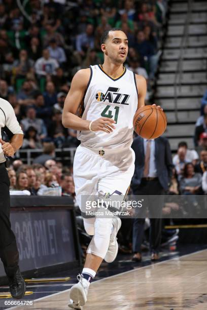 Trey Lyles of the Utah Jazz handles the ball against the New York Knicks on March 22 2017 at vivintSmartHome Arena in Salt Lake City Utah NOTE TO...
