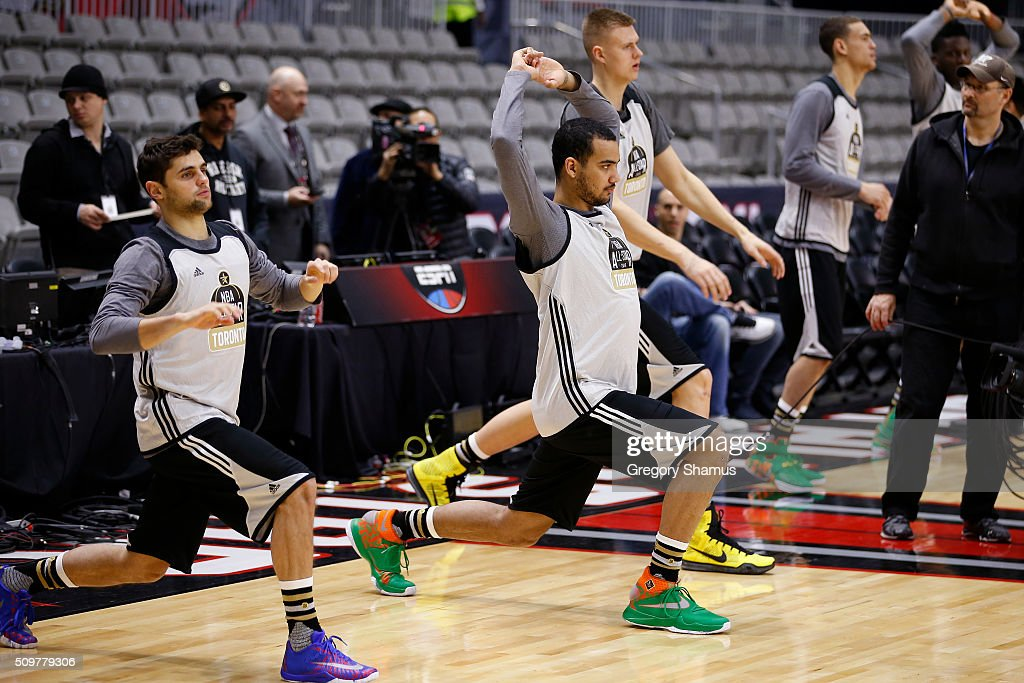 <a gi-track='captionPersonalityLinkClicked' href=/galleries/search?phrase=Trey+Lyles&family=editorial&specificpeople=8022476 ng-click='$event.stopPropagation()'>Trey Lyles</a> #41 of the Utah Jazz participates during the BBVA Rising Stars Challenge Practice as part of 2016 All-Star Weekend at NBA Centre Court of the Enercare Centre on February 12, 2016 in Toronto, Ontario, Canada.
