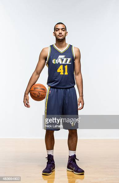 Trey Lyles of the Utah Jazz poses for a portrait during the 2015 NBA rookie photo shoot on August 8 2015 at the Madison Square Garden Training...