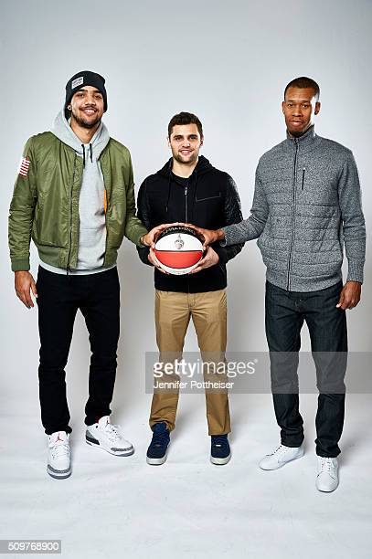 Trey Lyles Raul Neto and Rodney Hood of the Utah Jazz poses for a portrait as part of NBA AllStar 2016 on February 11 2016 at the Sheraton Centre in...