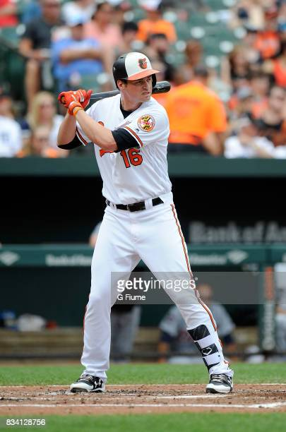 Trey Mancini of the Baltimore Orioles bats against the Detroit Tigers at Oriole Park at Camden Yards on August 6 2017 in Baltimore Maryland