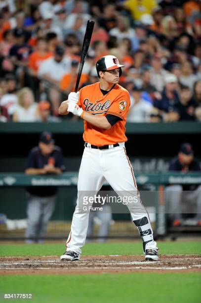 Trey Mancini of the Baltimore Orioles bats against the Detroit Tigers at Oriole Park at Camden Yards on August 5 2017 in Baltimore Maryland