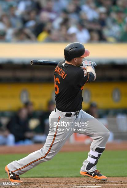 Trey Mancini of the Baltimore Orioles bats against the Oakland Athletics in the top of the second inning at Oakland Alameda Coliseum on August 11...