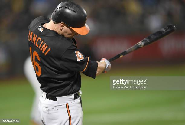 Trey Mancini of the Baltimore Orioles bats against the Oakland Athletics in the top of the fifth inning at Oakland Alameda Coliseum on August 11 2017...