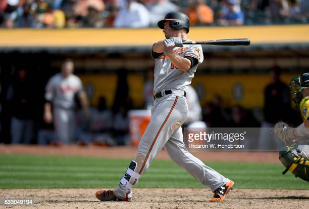Trey Mancini of the Baltimore Orioles bats against the Oakland Athletics in the top of the eighth inning at Oakland Alameda Coliseum on August 13...
