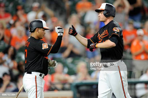 Trey Mancini of the Baltimore Orioles celebrates with Ruben Tejada after hitting a home run in the ninth inning against the St Louis Cardinals at...