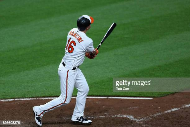 Trey Mancini of the Baltimore Orioles follows his walk off three run homer to defeat the Pittsburgh Pirates 96 in eleven innings at Oriole Park at...