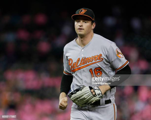 Trey Mancini of the Baltimore Orioles heads off the field during a game against the Detroit Tigers at Comerica Park on May 17 2017 in Detroit Michigan