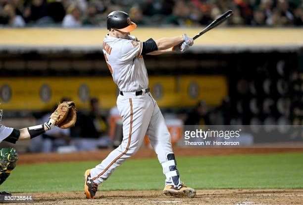 Trey Mancini of the Baltimore Orioles hits his second solo home run of the game against the Oakland Athletics in the top of the six inning at Oakland...