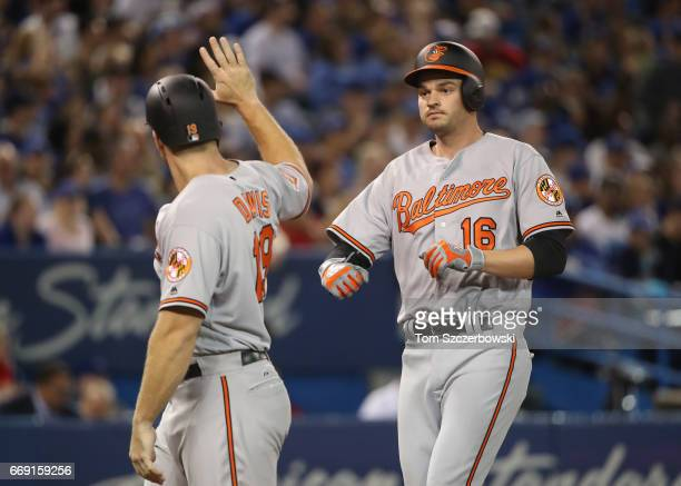 Trey Mancini of the Baltimore Orioles is congratulated by Chris Davis after hitting a threerun home run in the sixth inning during MLB game action...