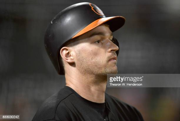 Trey Mancini of the Baltimore Orioles looks on from the ondeck circle against the Oakland Athletics in the top of the fifth inning at Oakland Alameda...