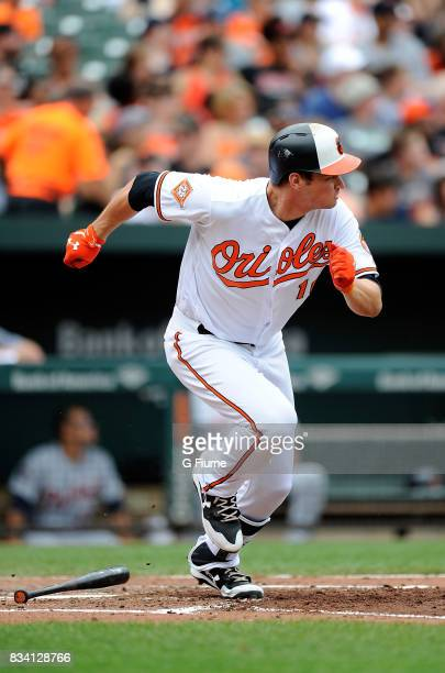 Trey Mancini of the Baltimore Orioles runs to first base against the Detroit Tigers at Oriole Park at Camden Yards on August 6 2017 in Baltimore...