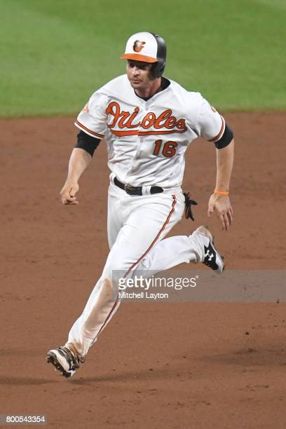 Trey Mancini of the Baltimore Orioles runs to third base during a baseball game against the Cleveland Indians at Oriole park at Camden Yards on June...