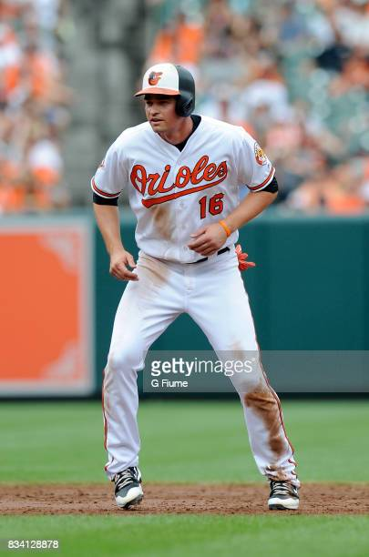 Trey Mancini of the Baltimore Orioles takes a lead off of second base against the Detroit Tigers at Oriole Park at Camden Yards on August 6 2017 in...