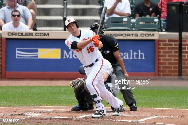 Trey Mancini of the Baltimore Orioles takes a swing during a baseball game against the Detroit Tigers at Oriole Park at Camden Yards on August 6 2017...