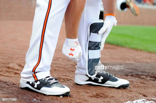 Trey Mancini of the Baltimore Orioles wears Under Armour gear during the game against the Detroit Tigers at Oriole Park at Camden Yards on August 5...