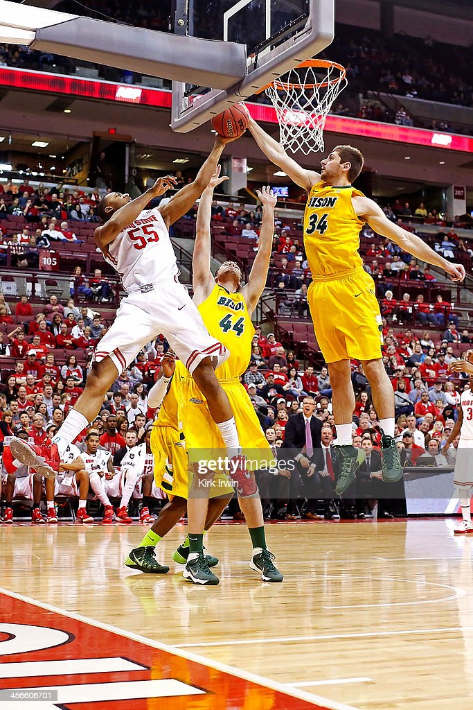 Trey McDonald #55 of the Ohio State Buckeyes battles for a rebound with Jordan Aaberg #44 and Chris Kading #34 of the North Dakota State Bison during the second half at Value City Arena on December 14, 2013 in Columbus, Ohio. Ohio State defeated North Dakota State 79-62.