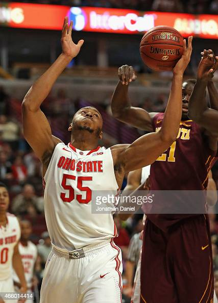 Trey McDonald of the Ohio State Buckeyes rebounds in front of Bakary Konate of the Minnesota Golden Gophers during the second round of the 2015 Big...