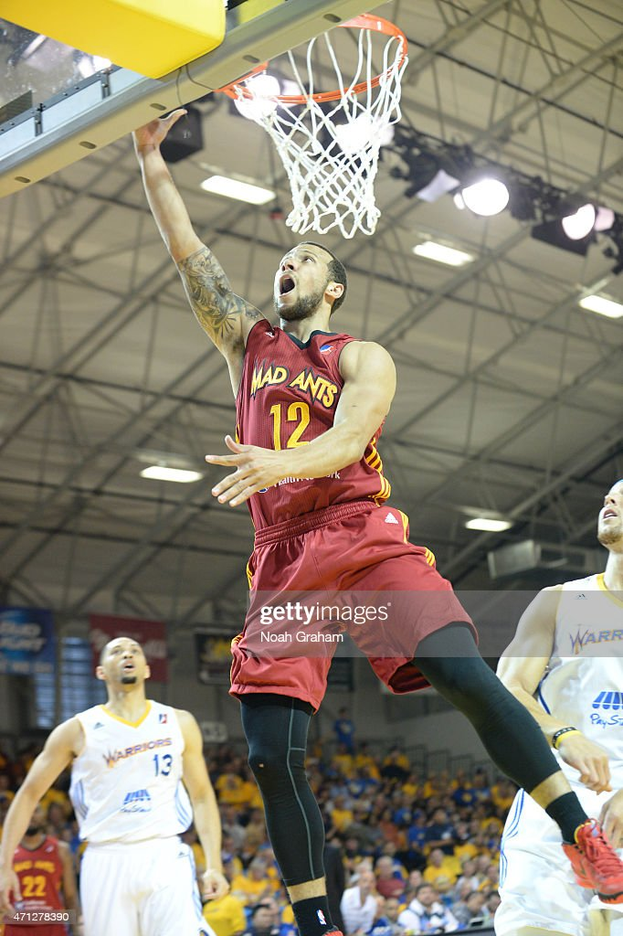 Trey Mckinney Jones #12 of the Fort Wayne Mad Ants shoots a layup against the Santa Cruz Warriors in Game Two of the NBA D-League Finals on April 26, 2015 at Kaiser Permanente Arena in Santa Cruz, California.
