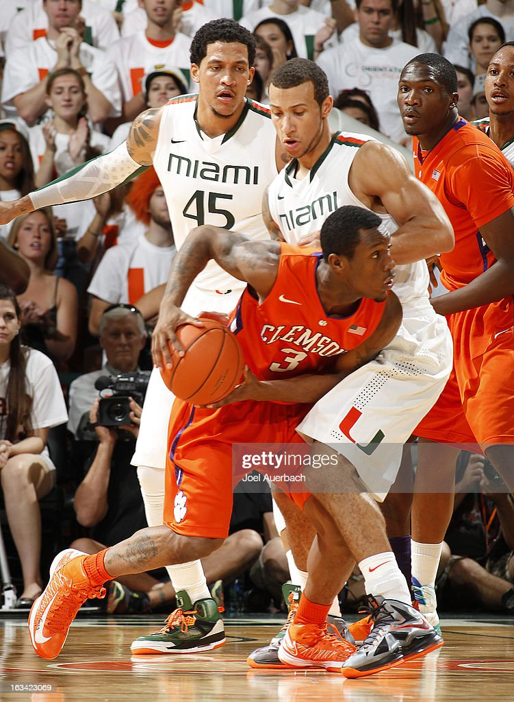 Trey McKinney Jones #4 of the Miami Hurricanes defends against Adonis Filer #3 of the Clemson Tigers on March 9, 2013 at the BankUnited Center in Coral Gables, Florida. The Hurricanes defeated the Tigers 62-49 and won the Atlantic Coast Conference Championship.