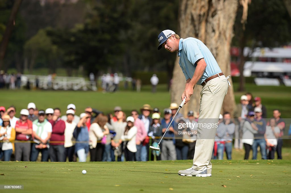 Trey Mullinax hits a putt on the first hole during the third round of the Web.com Tour Club Colombia Championship Presented by Claro at Bogotá Country Club on February 6, 2016 in Bogotá, Colombia.
