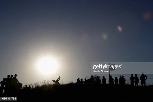 Trey Mullinax of the United States plays his shot from the eighth tee during the first round of the 2017 US Open at Erin Hills on June 15 2017 in...
