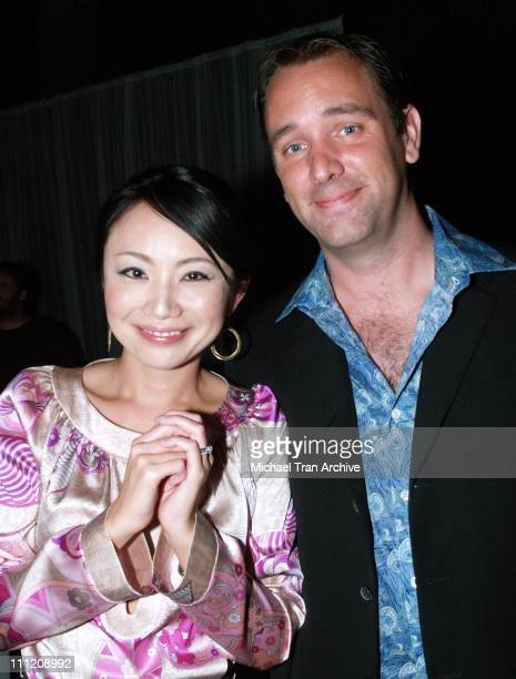 Trey Parker and wife Ema Parker during Comedy Central Celebrate 10 Seasons of 'South Park' Arrivals and Inside at The Lot in Los Angeles California...
