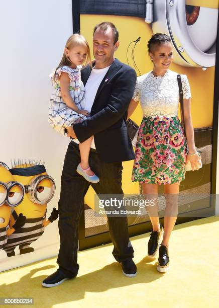 Trey Parker Boogie Tillmon and their daughter Betty Boogie Parker arrive at the premiere of Universal Pictures and Illumination Entertainment's...