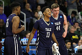 Trey Phills of the Yale Bulldogs reacts in the second half against the Baylor Bears during the first round of the 2016 NCAA Men's Basketball...