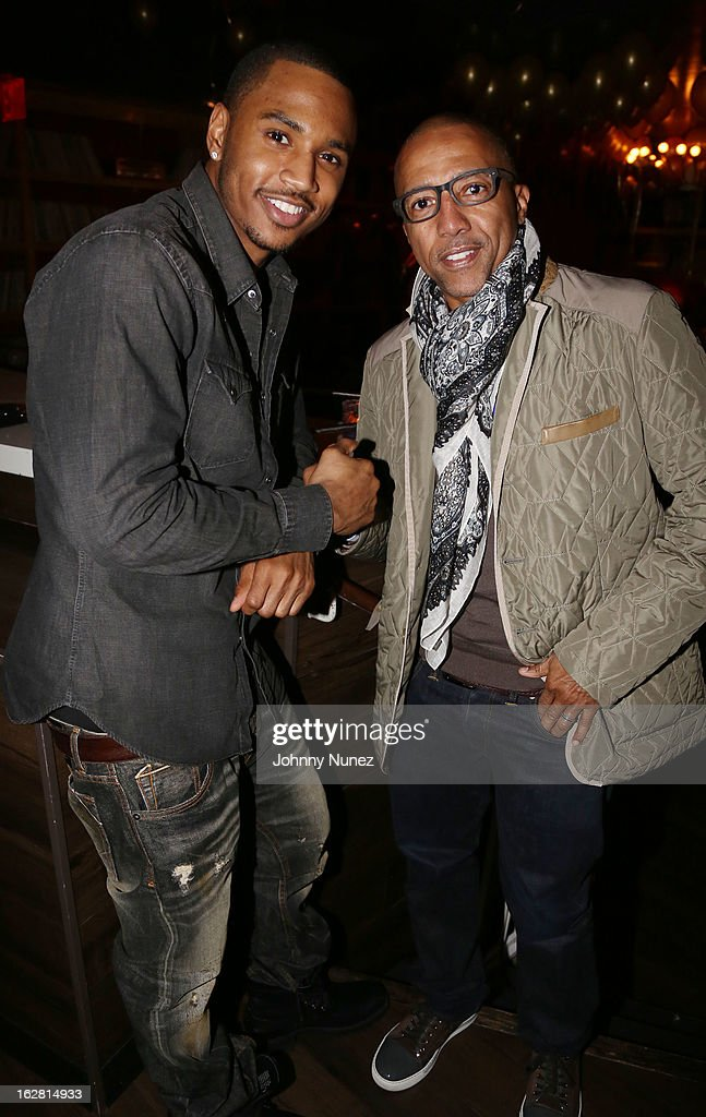 Trey Songz and Kevin Liles attend Kevin Liles' 45th Birthday Party at The Rec Room on February 27, 2013 in New York City.