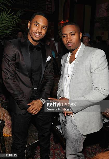 Trey Songz and Nas attend GQ And John Slattery Celebrate The Launch Of The April 2012 Issue at The Jane Hotel on March 12 2012 in New York City