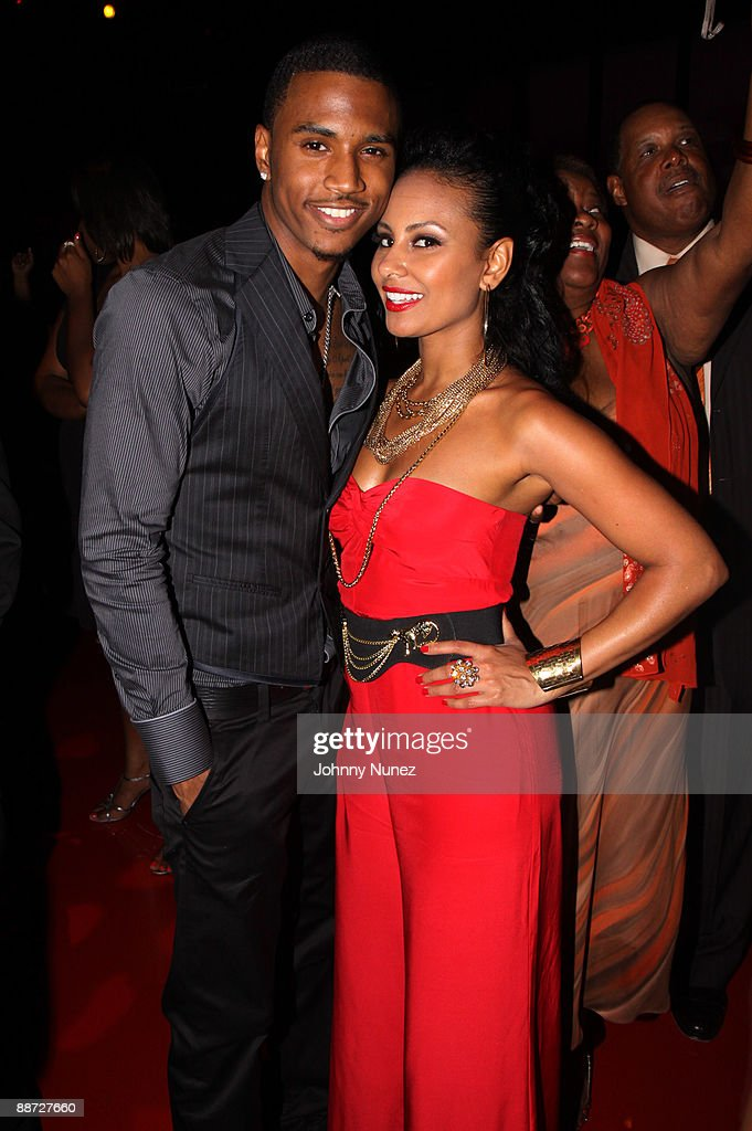 Trey Songz and Rhea attend the 'Pre' Party hosted by Debra Lee in celebration of the BET Awards 2009 at the Drago Centro at the Jewel Box on June 27, 2009 in Los Angeles, California.