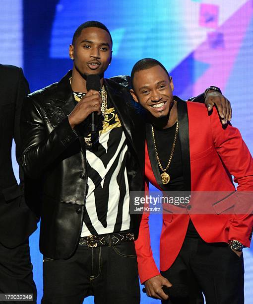 Trey Songz and Terrence J onstage during the 2013 BET Awards at Nokia Theatre LA Live on June 30 2013 in Los Angeles California