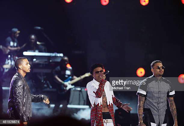 Trey Songz August Alsina and Chris Brown perform onstage during the 'BET AWARDS' 14 held at Nokia Theater LA LIVE on June 29 2014 in Los Angeles...