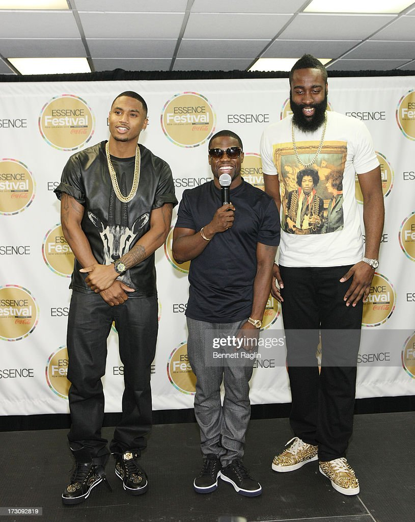 Trey Songz, Kevin Hart, and James Harden during the 2013 Essence Festival at the Mercedes-Benz Superdome on July 6, 2013 in New Orleans, Louisiana.
