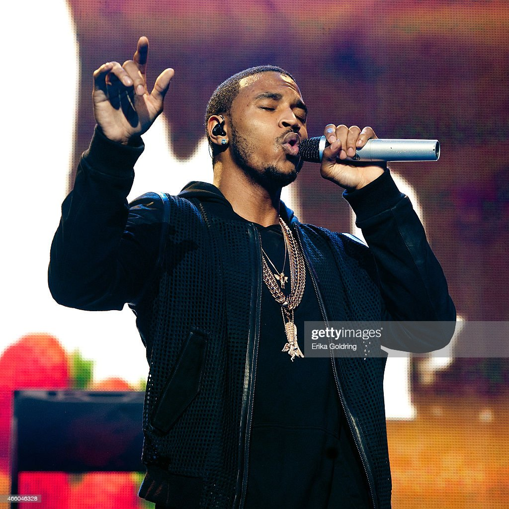 Trey Songz performs during the 'Between The Sheets Tour' at Smoothie King Center on March 12 2015 in New Orleans Louisiana