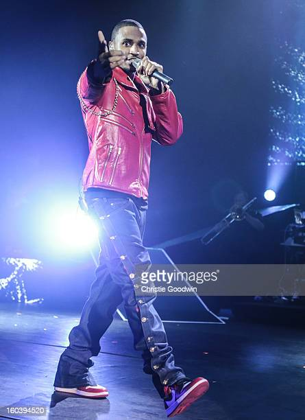 Trey Songz performs on stage at Hammersmith Apollo on January 30 2013 in London England