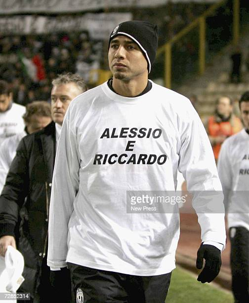Trezeguet of Juventus wears a shirt with the names of the two Juventus youth team players Alessio Ferramosca and Riccardo Neri who drowned after...