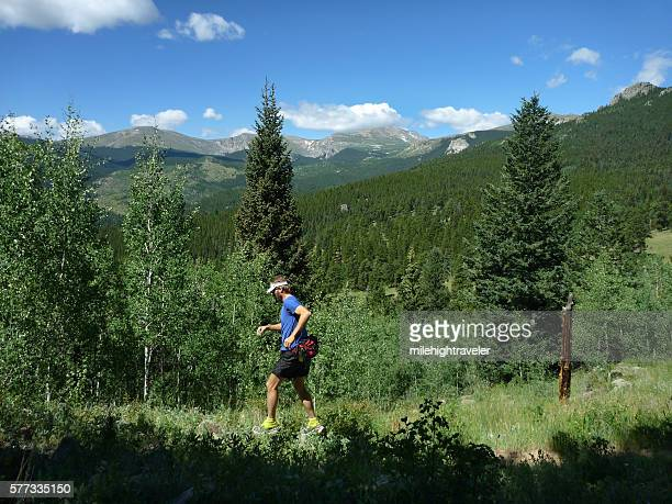 Trial running young man Mount Evans Wilderness Colorado Rocky Mountains