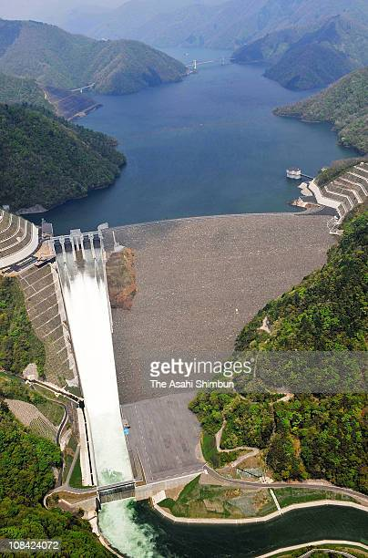 Trial sluice continues at Tokuyama Dam on Mayh 4 2008 in Ibigawa Gifu Japan The construction of the dam was originally planned in 1957 took 51 years...
