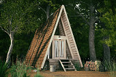 Wooden triangle house in the forest