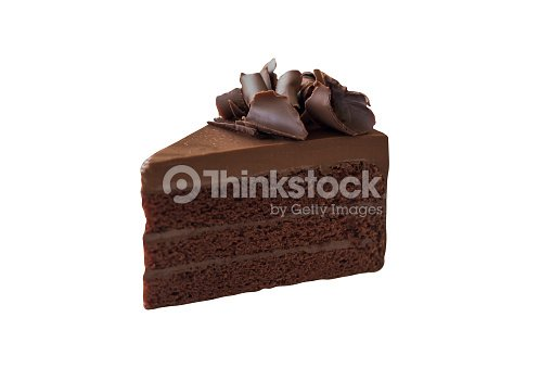 Triangle Shape Slice Piece Of Chocolate Fudge Cake Decorated With