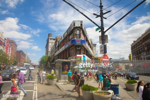 Triangular busy intersection in South Bronx
