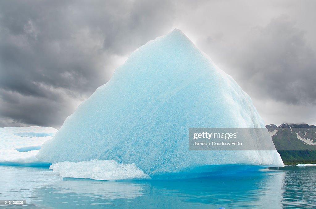 Triangular iceberg on gloomy day, Bear Lake, Kenai Fjords National Park, Alaska.